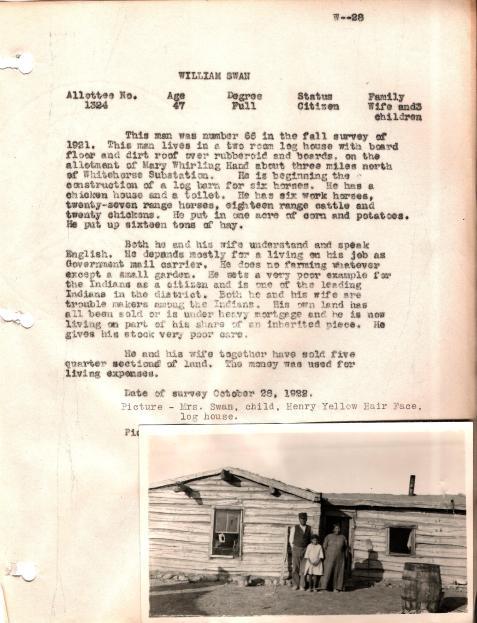 William Swan 1922 survey narrative Whitehorse District